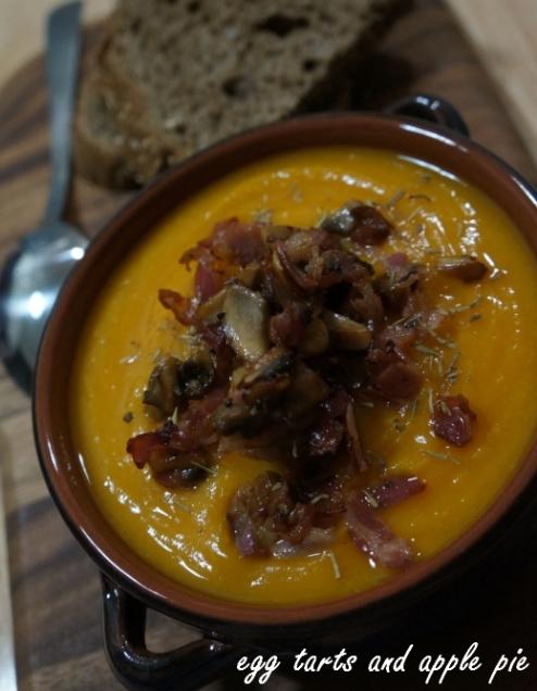 Pumpkin Chickpea Soup - Mushroom Pancetta