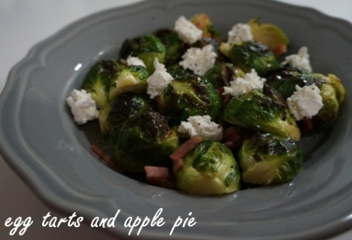 Roasted Brussel Sprouts - Pancetta and Goats Cheese